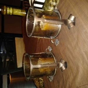 Bronze metal and amber glass votive holders